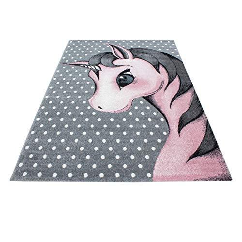 Carpet 1001 Kinderteppich Kinderzimmer Teppich mit Motiven Katze Kids-590 Pink - 160x160 cm Rund