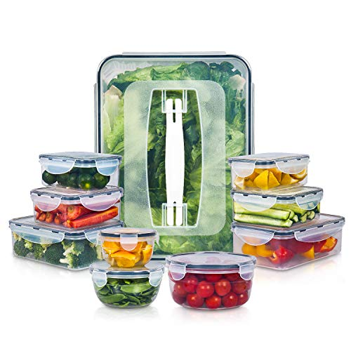 10 Pack Food Storage Containers for Food Preparation, Lunch and Leftovers, Vtopmart BPA Free Airtight Plastic Kitchen Food Storage Containers with Easy Lock Lids, Microwave,Freezer and Dishwasher Safe (Food Storage Lids And Microwave)