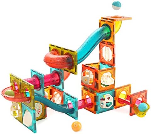 CUTE STONE Magnetic Tiles 84 PCS Magnetic Blocks Building Toys Marble Run for Kids Educational STEM Learning Toys for Toddlers Gifts for 2 3 4 5 6 Year Old Boys and Girls