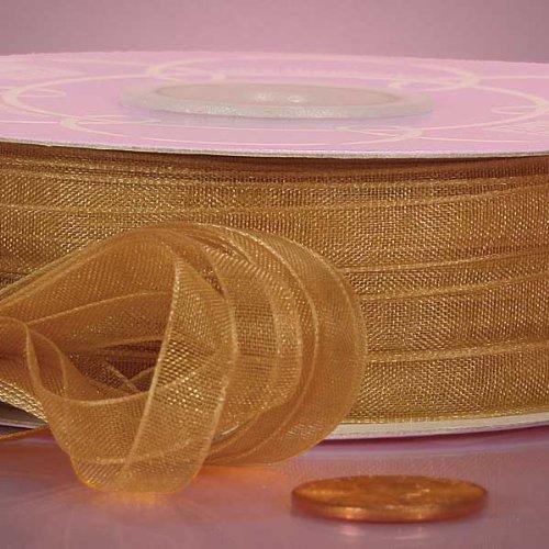 Old Gold Sheer Organza Ribbon, 1/4