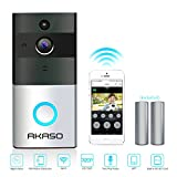 AKASO Video Doorbell, Smart Doorbell 720P HD Wifi Security Camera with 8G Memory Storage, Real-Time Two-Way Talk and Video, Night Vision, PIR Motion Detection and App Control for IOS and Android AKASO