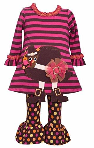 Girl Pilgrim Hat (Bonnie Jean Thanksgiving Turkey Pilgrim Hat Tunic and Legging Set, Girls, Sz 6X)