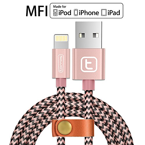 【Apple MFI Certified】Apple iPhone Charger Lightning Cable,TORRAS@ 3.3Ft Braided Fast Apple iPhone Charging Cable USB Syncing Charging Cord for iPhone 7 6 6s plus,iPad Air Mini,iPod Nano -Rose Gold