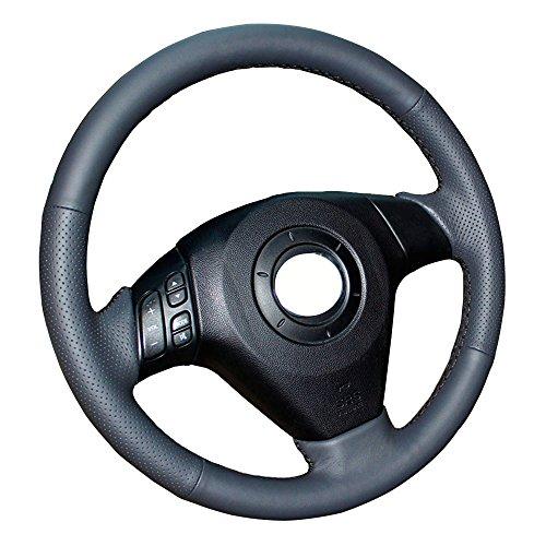 Eiseng DIY Genuine Leather Steering Wheel Cover Custom Fit for 2004 2005-2009 Mazda 3 M3 for 2003-2007 2008 mazda 6 M6 for 2006-2010 Mazda 5 M5 (Black leather with Black Thread)