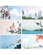 100-Pack All Occasion Greeting Cards, Assorted Blank Note Cards, 4 x 6 inch, 6 Japanese Watercolor Designs, Blank Inside, by Better Office Products, with Envelopes, 100 Pack
