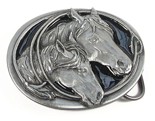 Diamond Cut Belt Buckles Horses - Pewter Belt Buckle - Horse Heads (Diamond Cut) - Pewter Belt Buckle