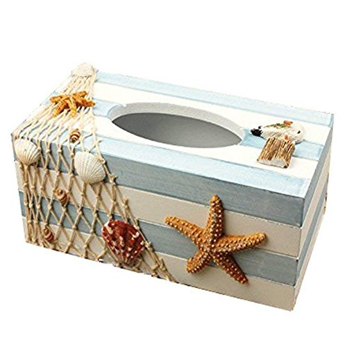 Silence Shopping Mediterranean Style Wooden Tissue Paper Holder Box Nautical Decor(Sea)