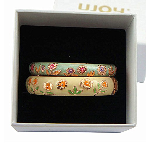 let Set Sunflower Enamel Bangles Jewelry Gift Box for Women 55C36 yellow and green ()