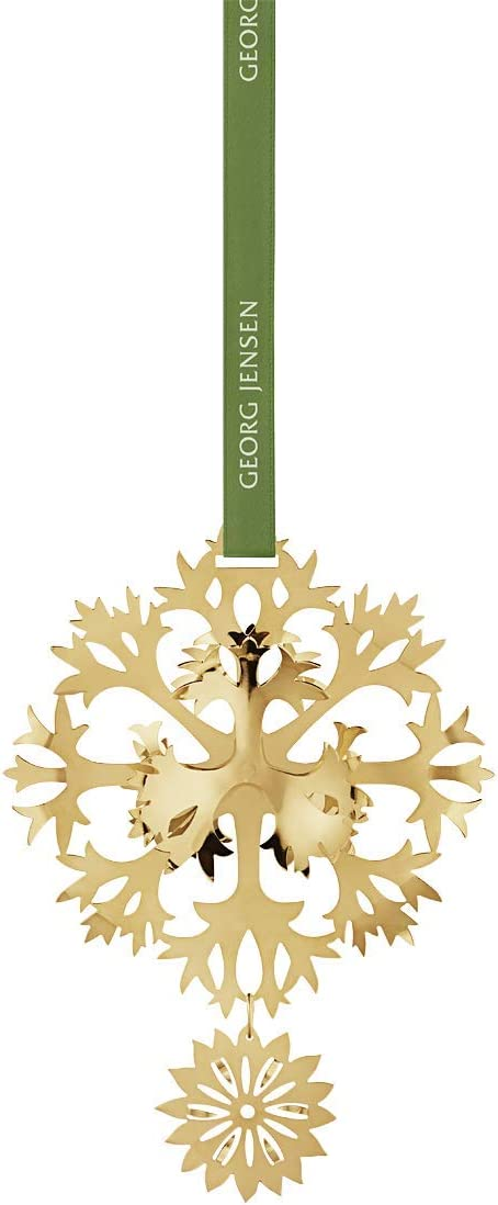 Georg Jensen Christmas Mobile 2020 GeJensen Christmas Mobile Ice Flower in Gold Brass by Sanne