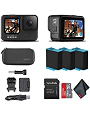 $488 » GoPro HERO9 Black - Waterproof Action Camera with Front LCD and Touch Rear Screens, 5K HD Video, 20MP Photos, 1080p Live Streaming, Stabilization + Sandisk 64GB Card and 2 Extra HERO9 Batteries
