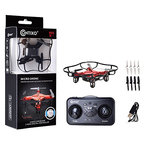 CHRISTMAS SALE- Contixo Mini Pocket Drone 4CH 6 Axis Gyro RC Micro Quadcopter with 3D Flip, Intelligent Fixed Altitude (Red)