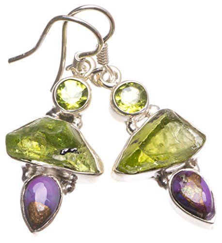 Natural Dyed Crystal,Copper Turquoise and Peridot Indian 925 Sterling Silver Earrings 1 1/2