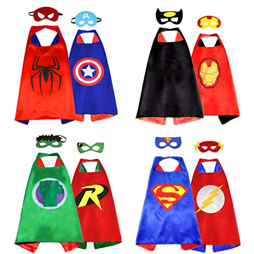 Superhero Capes for Kids, 8 Heroes Reversible Satin Capes and Masks for Dress Up Costumes (4 Cape, 8 -