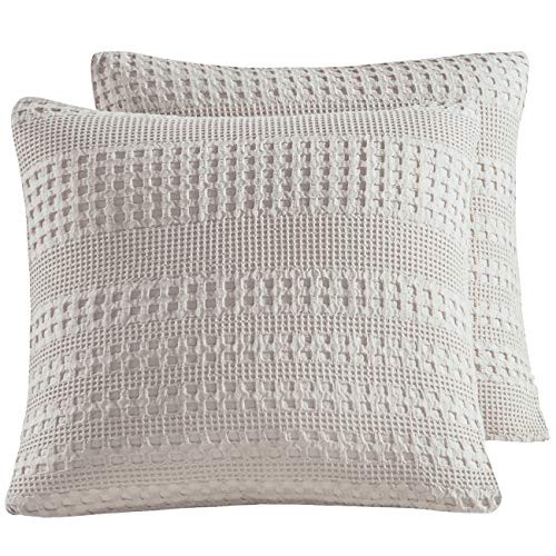 "PHF Waffle Weave Euro Sham Cover 26"" x 26"" Throw Pillow Cover for Winter Khaki/Beige"