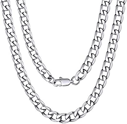HAMANY Mens Necklace Stainless Steel Byzantine Box Necklace Chain Gold Tone