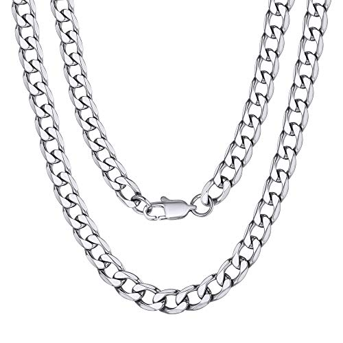 Mens Necklace Curb Cuban Link Silver Tone Stainless Steel Necklace Chain Jewelry 6mm 18inch Choker (Chain Link Tone Silver)