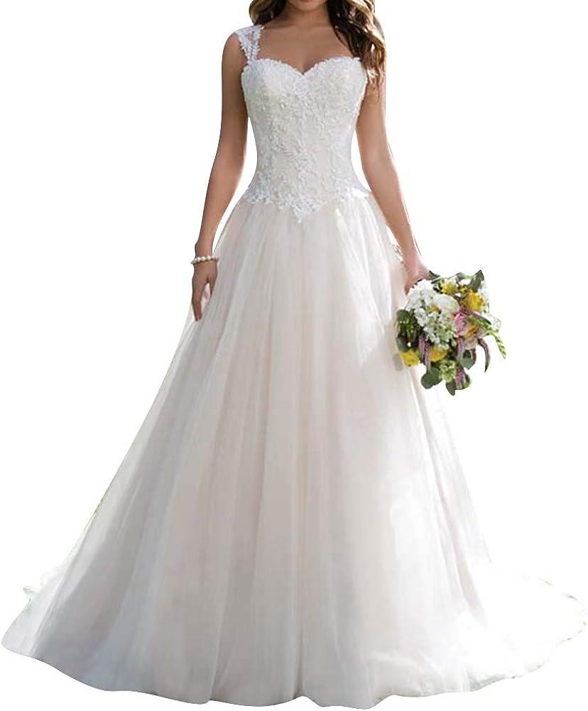 Brautkleid Hochzeitskleider Lang Prinzessin Brautmode Tüll Herzausschnitt  A-Linie