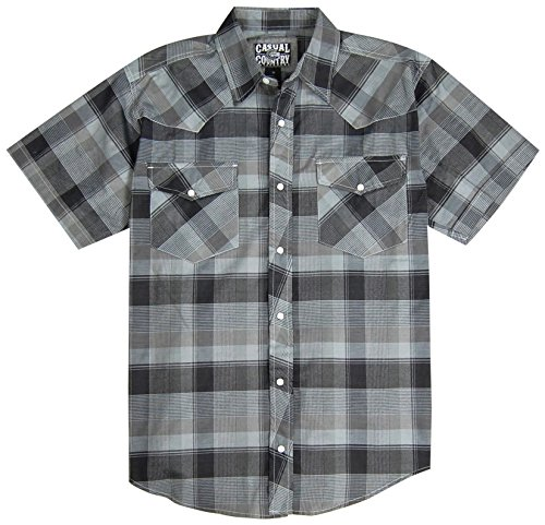 (Men's Classic Plaid Short Sleeve Casual Western Shirt; Pearl Snap Front (X-Large, Black) )