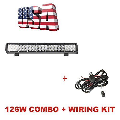 Topcarlight 126W 20 inch LED Lights Bar Chips Flood Spot Combo Beam Off Road Truck 4wd SUV ATV Waterproof with Wiring Harness