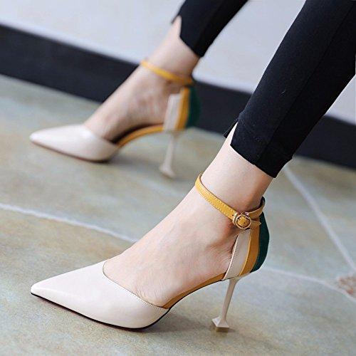 FLYRCX temporada de primavera y otoño de mujeres delgadas tacón zapatos de moda con zapatos de tacón,38 34