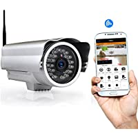 Outdoor Wireless Home Security Surveillance IP Camera with Weatherproof Aluminum Body and Night Vision - Connect Wifi for Remote Access to Live Video