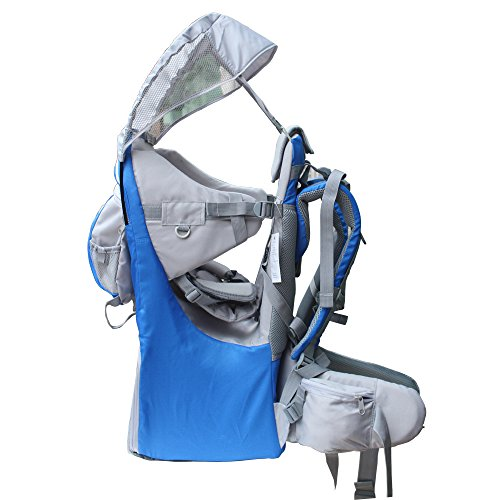 New Baby Toddler Hiking Backpack Carrier Stand Child Kid Sunshade Visor Shield Shield (blue) ()