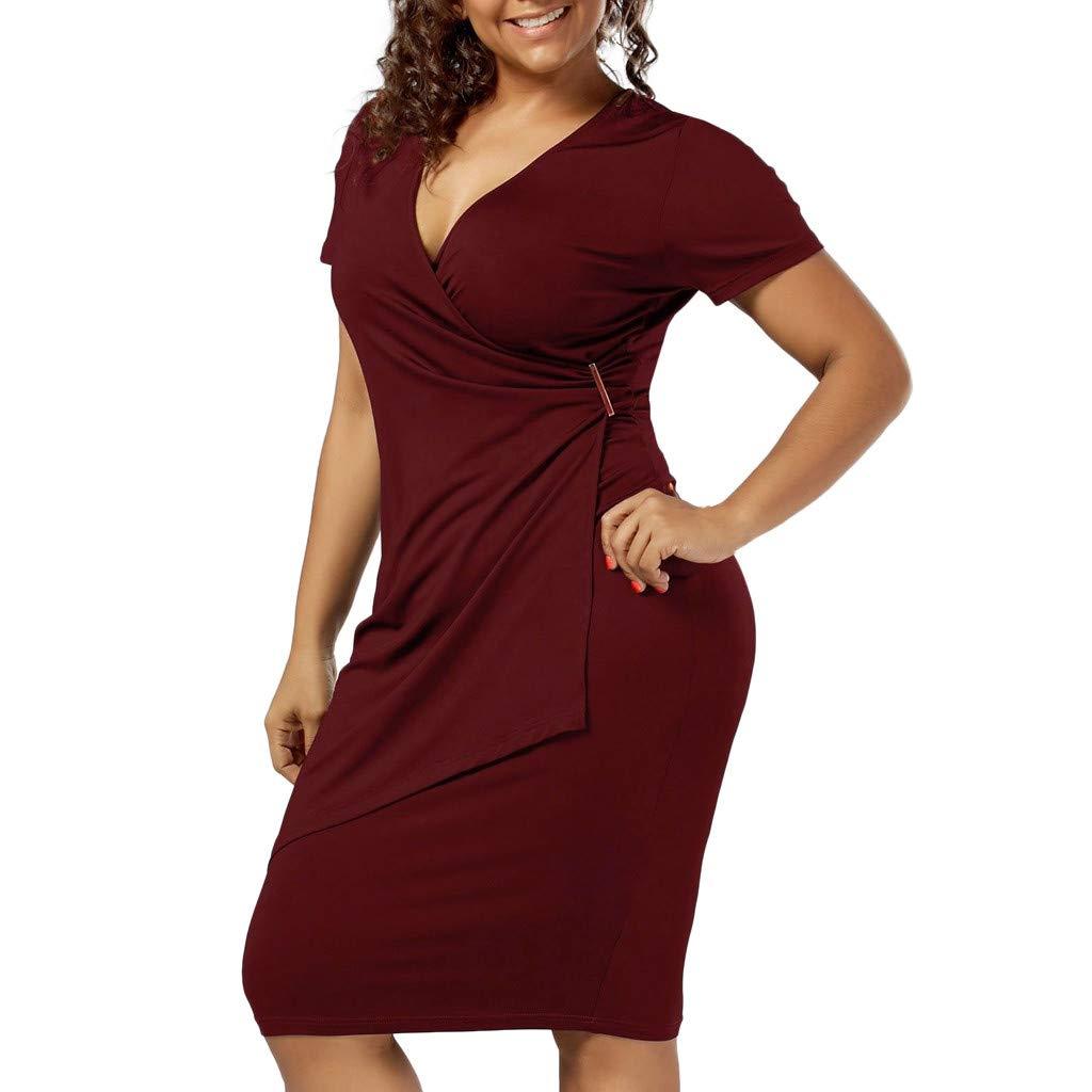 Sommerkleid Damen Elegant Frauen Sexy Cocktailkleid Casual Strandkleider Unregelmäßiges Kleid Mädchen Partykleid Große Größe V-Ausschnitt Abendkleid Einfarbiger Hüftrock mit kurzen Ärmeln