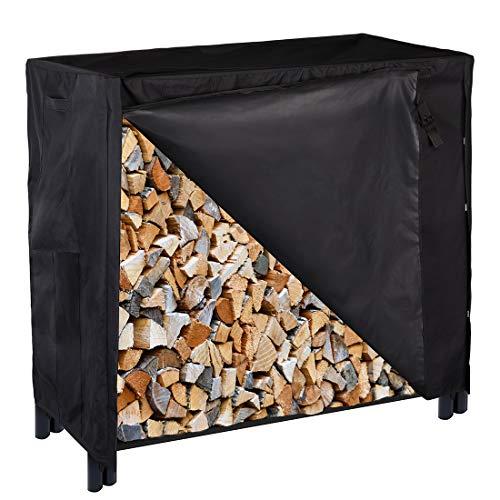 (VIVOHOME Heavy Duty Waterproof Outdoor Firewood Storage Log Rack Cover with Zipper 4 feet)