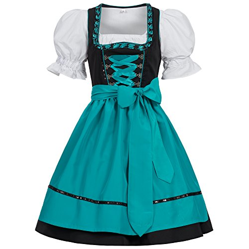 [Gaudi-leathers Women's Set-3 Dirndl Pieces Embroidery Froschmaul Black/Blue 34] (German Dress)