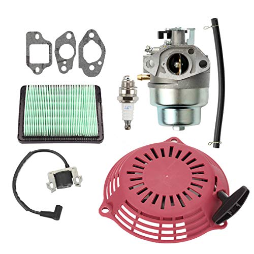 Hippotech Carburetor and Air Filter Kit with Recoil Pull Starter Ignition  Coil for Honda GCV160 GCV160A Lawn Mowner GCV160LA GCV160LE GCV160A0