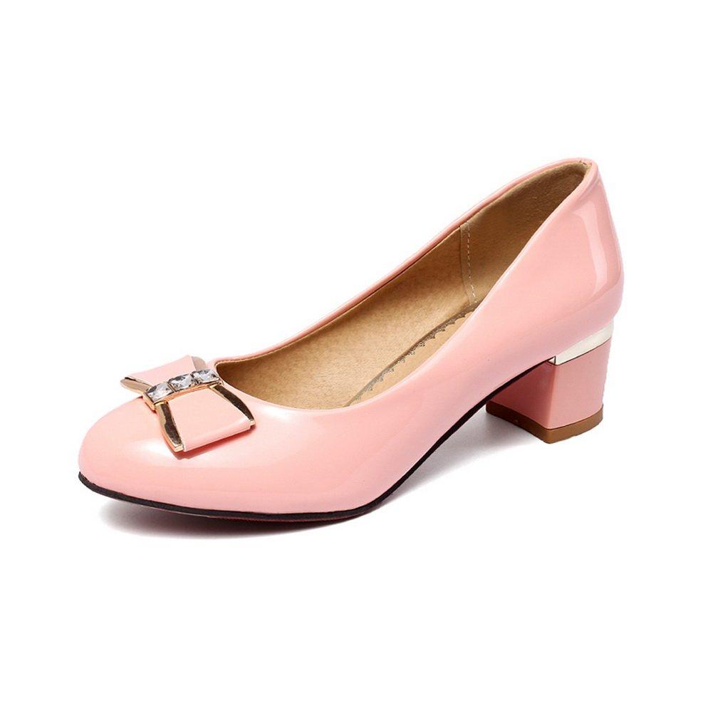 BalaMasa Girls Metal Bowknot Glass Diamond Chunky Heels Pink Imitated Leather Pumps-Shoes - 7 B(M) US