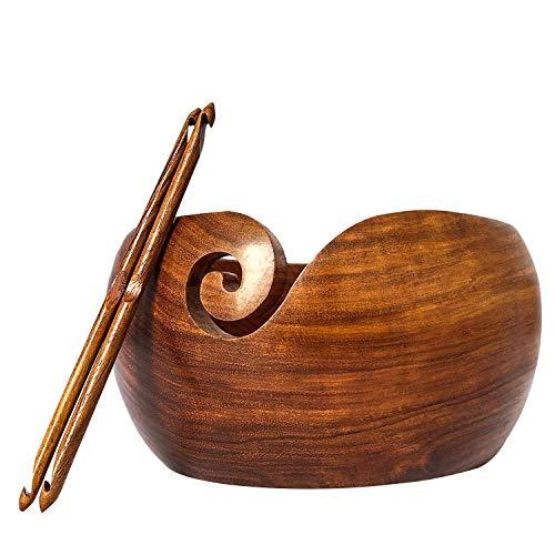 Premium Wooden Yarn Bowl 8''X4'' Large, 2 Crochet Hooks Bundle by YARN STORY (Image #5)