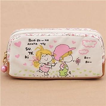 Estuche doble para lápices crema rosa niños flores lindo bolsito de Japón: Amazon.es: Juguetes y juegos