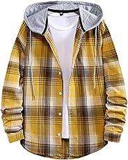 Zainafacai Men's Long Sleeve Plaid Shirt Jacket with Hood Casual Lightweight Shirt Flannel Jackets Pullove