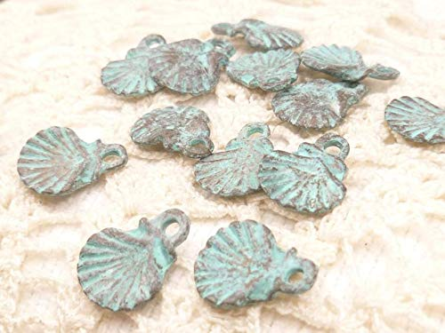 - Unique Selection Charms 13mm Scallop Shell Charms, Tiny Perfect, Rustic, Vintage Look, Patina Mykonos Casting