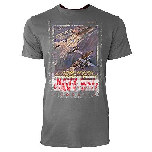 SINUS ART® Navy Day Herren T-Shirts graues Cooles Fun Shirt mit tollen Aufdruck