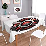 Homesonne Machine Washable Tablecloth,city fire department organization realistic logo emblem design with crossed axes and pumps red For Dinner Parties, Summer & Outdoor Picnics