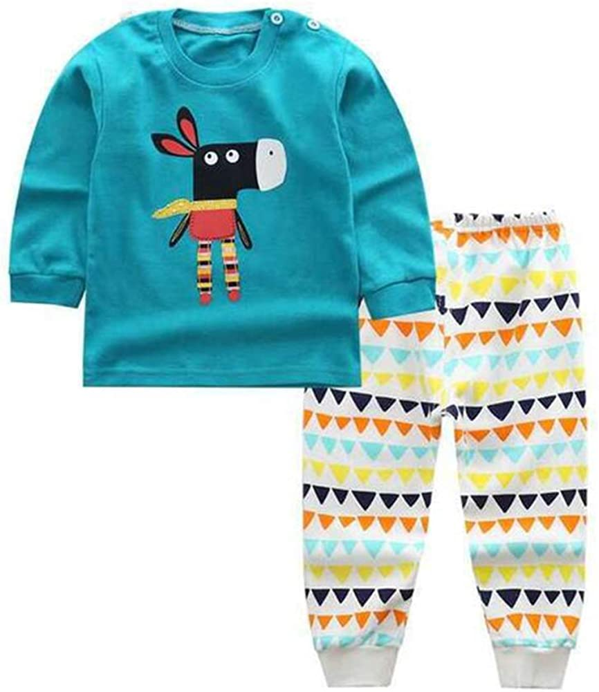 HROUEN Baby Organic Cotton Pajamas Toddlers Boys and Girls Long Underwear Soft Shirt Bottoms Sleepwear Set