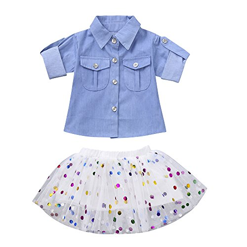 Girl Denim Tops Shirt + Mesh Tutu Skirt for 0-4 Years Old Baby Clothes Set (2-3 Years Old, Blue)