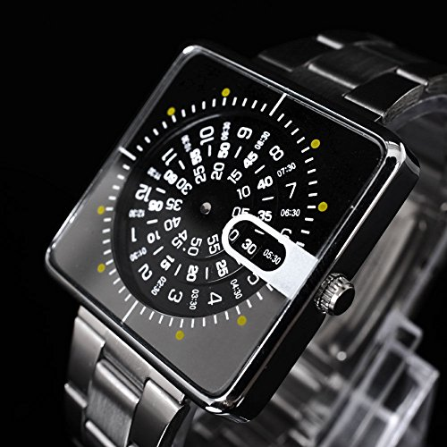 Fashion Square Dial Turntable Men's Stainless Steel Band Quartz Wrist Watch