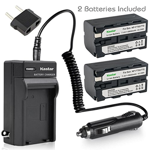 Kastar Battery (2-Pack) and Charger Kit for Sony NP-F770 NP-F750 and CCD-RV100 CCD-RV200 CCD-SC9 CCD-TR1 CCD-TR940 CCD-TR917 Camera CN-126 CN-160 CN-216 CN-304 YN 300 VL600 LED Video Light by Kastar