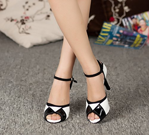 White Tango Peep Professional Salsa Morden Party Heel CRC Synthetic Womens Black Sandals Latin White Wedding Ballroom Dance High Black Stylish Block Toe Color Unn1pZO
