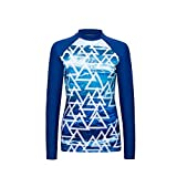 VECTOR Women Long Sleeve Zip Top Print Wetsuit Swimsuit Shirts Jacket Quick-dry Slim Surfing Diving Snorkeling Kayaking Scuba Suits Rash Guards UPF 50+ UV Beachwear Watersports (Lake Blue, M)
