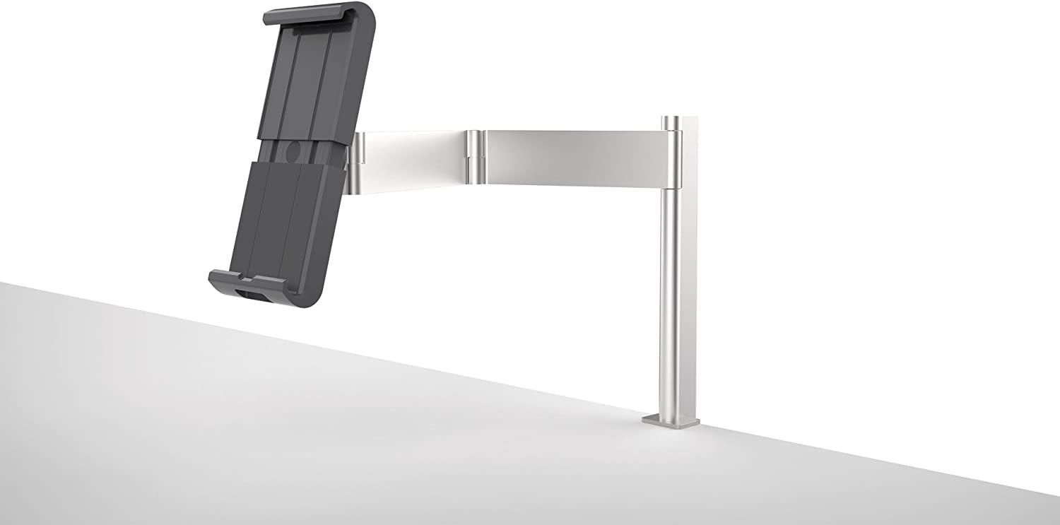 "KENSINGTON DURABLE UNIVERSAL TABLET HOLDER WITH DESK MOUNT CLAMP, FOR UP TO 13"" TABLETS - SILVER"