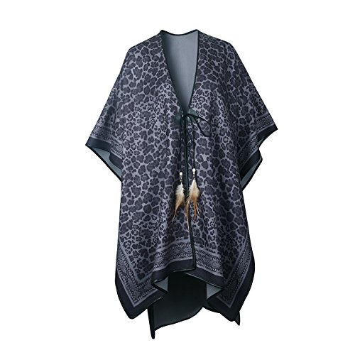 Women's Knitted Cashmere Blanket Poncho Cape Wrap Shawl Cardigans Coat with Tassel (Leopard)