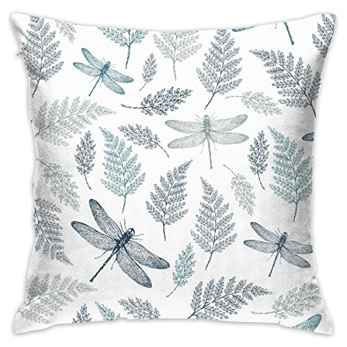 CIGOCI Zippered Throw Pillowcase Pillowcase Square Dust Mite & Bed Bug Resistant Pillowcase for Bed Chair Sofa Kids Room - Floral Dragonfly Leaves White Home Art for Hair and Skin