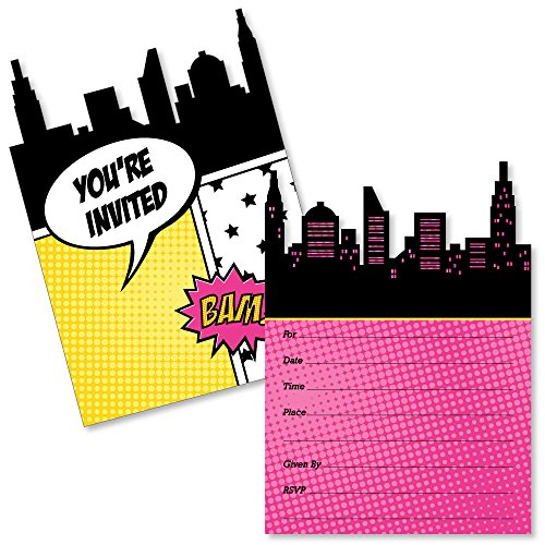 BAM! Girl Superhero - Shaped Fill-in Invitations - Baby Shower or Birthday Party Invitation Cards with Envelopes - Set of 12 ()