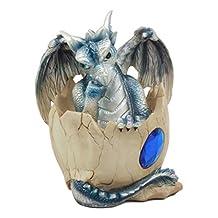 September Blue Gem Birthstone Dragon Hatchling Egg Figurine Sculpture Collector