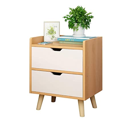 Amazon com: Bedside Table, Double Drawers with Large Storage