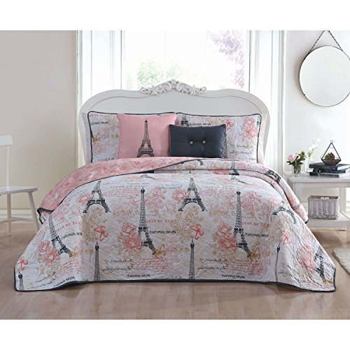 5 Piece Girls Pink White I Love Paris Quilt King Set, France Inspired Eiffel Tower Themed Bedding Floral Black Chic Modern Pattern Multi Rose Flowers Girly Flower Motif Pretty All Over, Polyester by N2